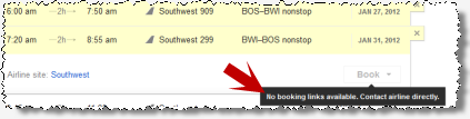 If an airline declines to participate in Google Flights, its listings are labeled 'no booking links available.' Google fails to offer a more helpful link or booking shortcut, even though it could easily do so.