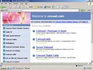 Requesting Cmcast.com (s.i.c.) yields a page of Google ads.