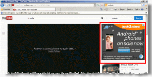Webcake adware inserts an AT&T ad into the YouTube site without permission from Google.