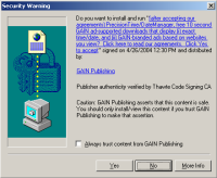 A Claria drive-by download prompt -- allowing the user to press 'Yes' and have software installed, without first seeing Claria's license agreement.