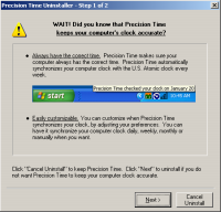 Claria uninstallation screen, adding additional steps to attempts to remove Claria software.