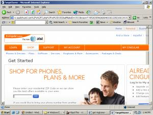 TargetSaver Promotes Cingular Using a Full-Screen Pop-Up