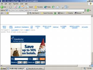 A Travelocity Ad Injected into True.com by Searchingbooth