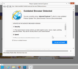 Blinkx adware presents a deceptive ad falsely claiming a user's browser needs updating.