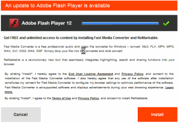 Deceptive Fast Media Converter installation solicitation pretends to be a Flash Player update.  It installs Blinkx adware (and more).