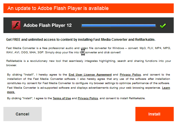 deceptive fast media converter installation solicitation pretends to be a flash player update it installs