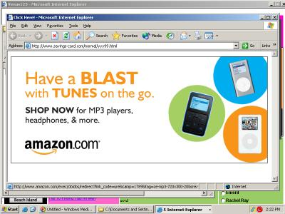 An Amazon ad served through Claria BehaviorLink. The ad appears within Savings-card.com, a site which was opened in a popup by KVM Media, which had become installed on my test PC via a security exploit, without my consent.