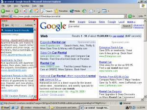 A Yahoo Overture auto-opening sidebar, delivered by eXact Advertising, targeting Google search results.