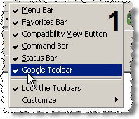 I right-click in empty toolbar space, and I uncheck Google Toolbar