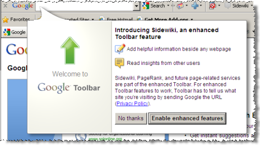 Google Toolbar invites users to activate Enhanced Features with a single click, the default.  Also, notice self-contradictory statements (transmitting 'site' names versus full 'URL' adresses).