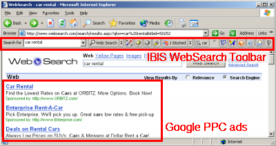 IBIS WebSearch results showing Google PPC ads