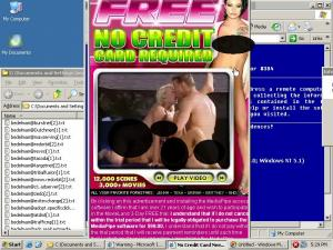The SearchingBooth ad, edited to cover sexually-explicit areas.