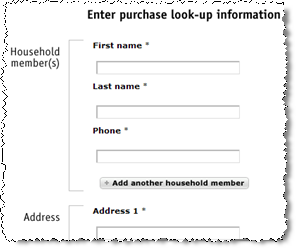The look-up form. Full form requires first name, last name, phone number, and address, but nothing more.