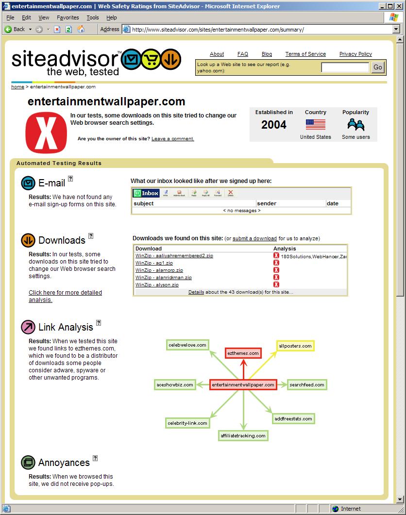 Additional Siteadvisor Screenshots Example Program Dossier Report