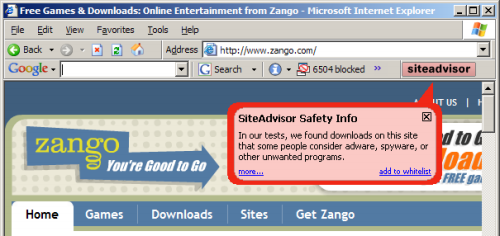 SiteAdvisor in action, evaluating zango.com.