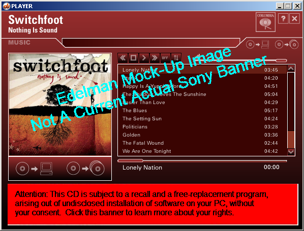 A notification banner shown in my Sony XCP Player, demonstrating the feasibility of using the banner system to notify users of the software installed on their computers.