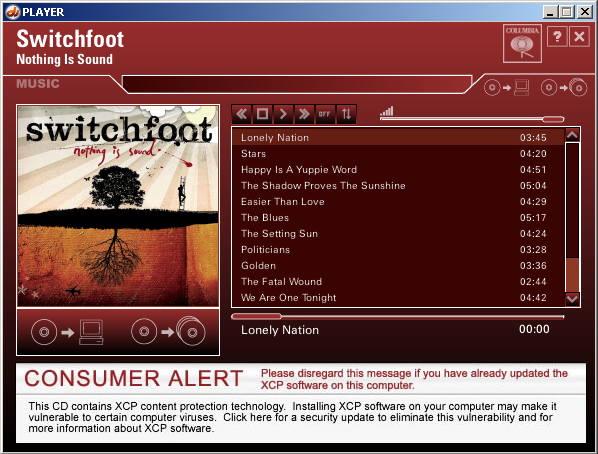 An actual banner shown in my Sony XCP Player on December 17, 2005.