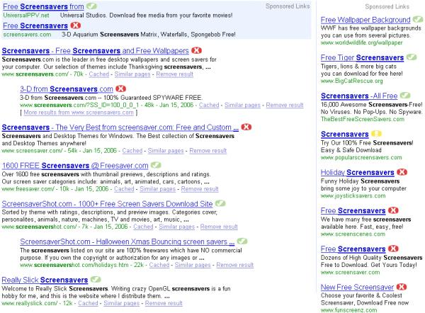 Risky Entries in 'Screensavers' Search Results