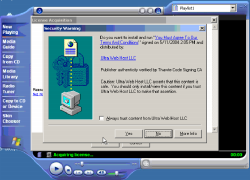 Screen-shot of the initial on-screen display.  If users press Yes, scores of unwanted programs are installed onto their PCs.  Click to enlarge.