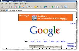 A Vonage ad injected into the Google site, without Google's permission.