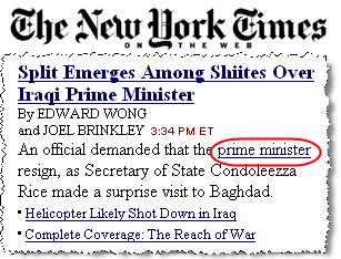 The circled link was inserted into the nytimes.com site by Qlinkserver.  Clicking the link sends traffic to Yahoo Overture PPC and on to an advertiser.