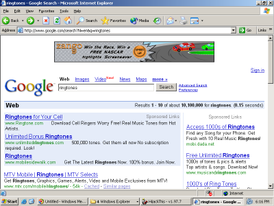 A Zango Ad Injected into Google by FullContext