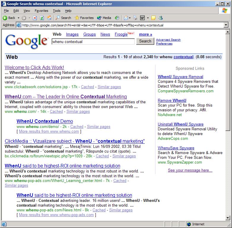 WhenU Spams Google, Breaks Google