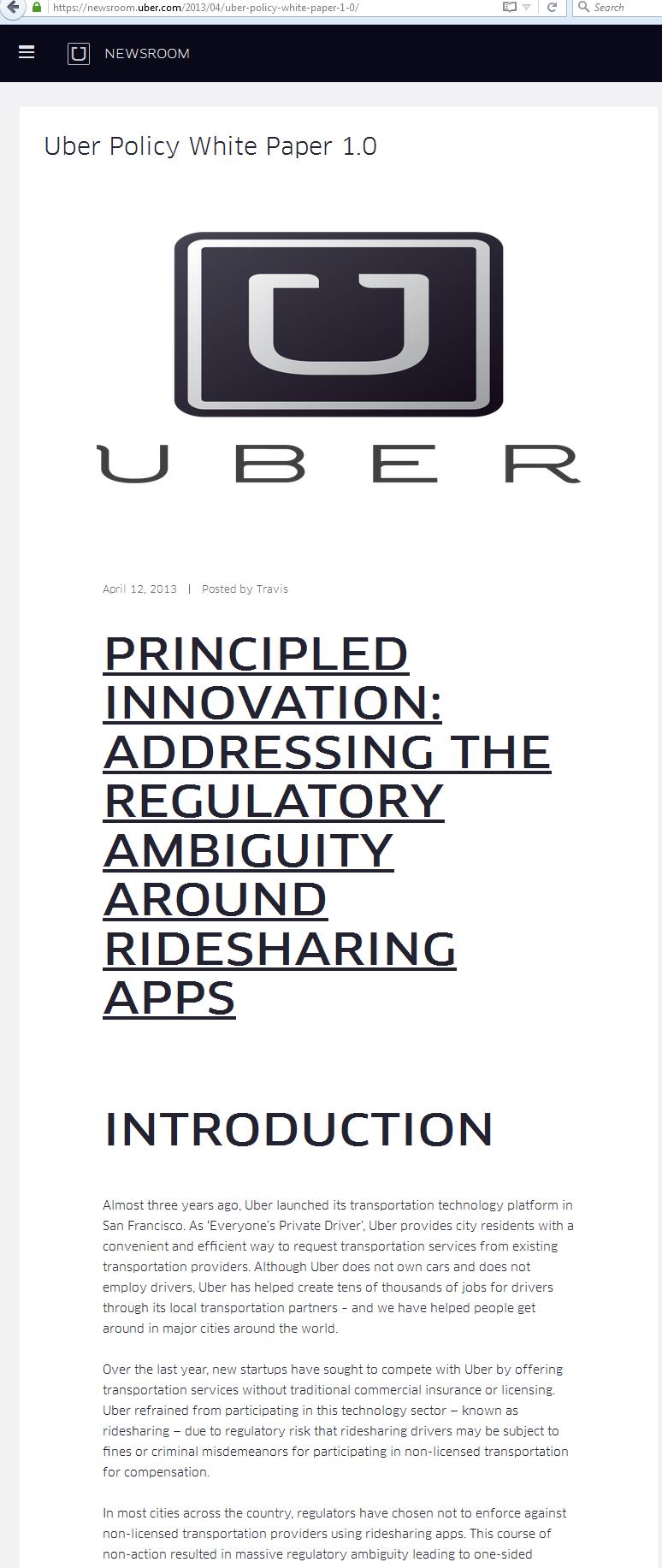 uber executive summary